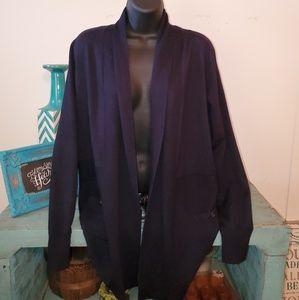 New Premise Sz L Dark Blue Open Front Cardigan